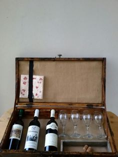 Old wooden box dated 1961 for wine bottles
