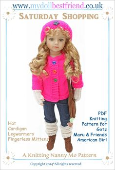 Saturday Shopping a pdf knitting pattern from My Doll Best Friend for Maru, American Girl, Gotz and similar dolls.