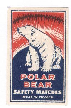 Old Matchbox Label Box Size Sweden Polar Bear