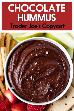 A dip that is both heart-healthy and delicious, this Chocolate Hummus is a sure hit! Nobody will know that this rich and chocolate-y dip is actually made from chickpeas! Healthy Meals For Kids, Healthy Sweets, Healthy Snacks, Healthy Hummus, Heart Healthy Desserts, Hummus Dip, Sweet Recipes, Whole Food Recipes, Cooking Recipes