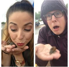 The difference between zoella holding a snail and tyler oakley! Watch Tyler and Zoella on YouTube!!