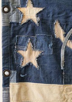 All hand crafted, one of a kind, piecework flag in vintage denim and vintage khaki twill and canvas. Thirteen stripes with a stylized nautical anchor and star pattern. Backed in patchwork vintage midnight blue tent canvas, with brass grommets for hanging Artisanats Denim, Denim Shorts, Denim Vintage, Nautical Flags, Nautical Anchor, Diy Vetement, Denim Ideas, Denim Crafts, Boro