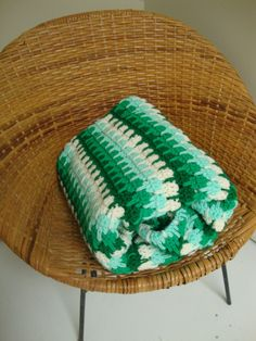vintage green and white hand crocheted afghan....great Christmas colors