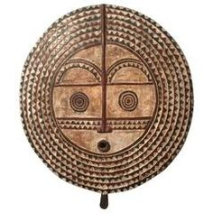 Burkina Faso Large Carved Wood Sun Mask Sculpture