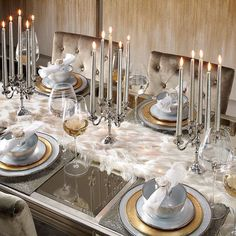 #StyleTip: if your dining setup could use an extra glow this holiday, set a fuzzy foundation with LED string lights. Top it off with beaded and metallic place settings to catch the light and set your table aglow. Tap photo for details!