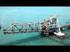 Pamban bridge of India opened for a ship to cross. - YouTube