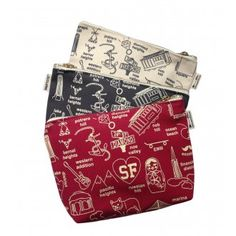 We're celebrating our beloved city of San Francisco with these fun, zipped pouches adorned with schematic maps of some of our favorite neighborhoods, icons, and landmarks.