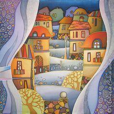 """Батик """"Вечерний город"""" - Батик,холодный батик,город,панно,handmade,авторская роспись"""
