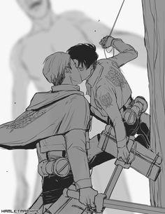 Shingeki no Kyojin \\ 進撃の巨人 \\ Attack on Titan \\ Attack On Titan Ships, Attack On Titan Fanart, Attack On Titan Levi, Levi Ackerman, Levi And Erwin, Titans Anime, Mundo Comic, Eruri, Anime Ships