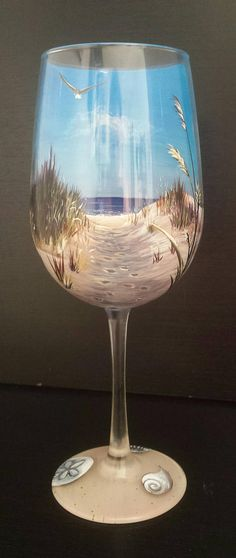 Items similar to Beach Wine Glass Hand Painted Scene Nautical Footprints in the Sand Dunes Seashells Blue Sky Seagull Seashell Sea Oats Seaside Collectible on Etsy Decorated Wine Glasses, Hand Painted Wine Glasses, Bottle Painting, Bottle Art, Painted Wine Bottles, Glass Bottles, Beach Scene Painting, Blue Painting, Wine Glass Crafts