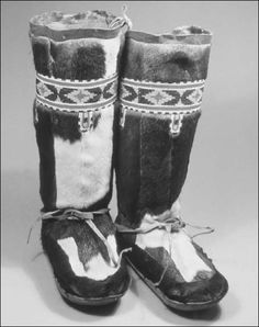 Koriak fur boots worn by Inuits and usually made from sealskin.