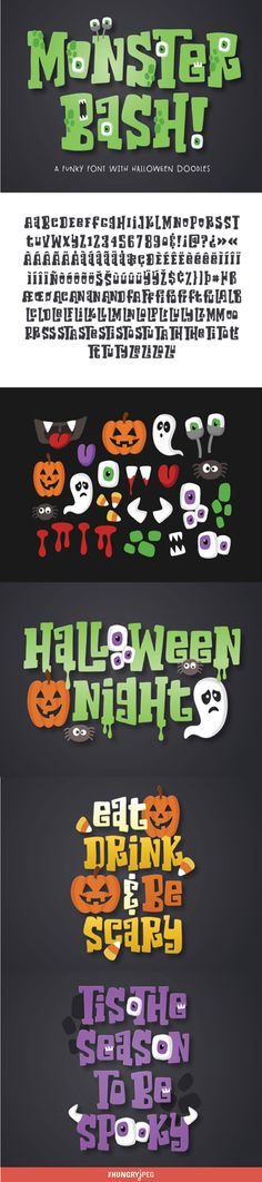 Monster Bash is a bold and blocky slab serif font that comes with a bunch of cute Halloween doodles. In programs that support Open Type features, Monster Bash will automatically create interlocking characters. Use Monster Bash alt (and the accompanying font menu) in programs without Open Type features to find and choose which ligatures you want to include.