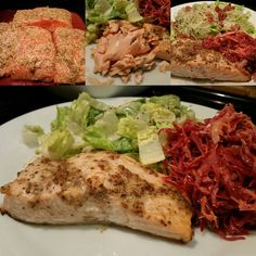 Wild Caught Chinook Salmon baked with spicy mustard, salt, pepper (400 degrees for 12 mins). Caesar salad with bacon and parmigiano and mct caesar dressing. Cole slaw with unpasteurized sauerkraut, carrot, onion and mct mayo, dill, salt, pepper. This is great for P3!!! Can you eat this in P2????