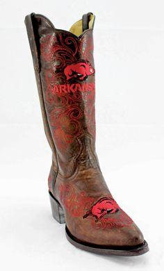 Gameday U Of Arkansas Ladies Leather Boots - Brass
