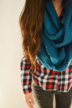 love the scarf & that flannel.