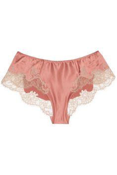 Carine Gilson/Sonia lace-appliquéd stretch-silk satin shorts