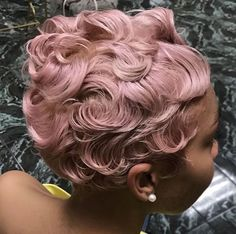 Bold pastel pink via - Black Hair Information Finger Waves Short Hair, Afro Hair Care, Curly Hair Styles, Natural Hair Styles, Black Hairstyles With Weave, Pixie, Hair Laid, Relaxed Hair, Afro Hairstyles