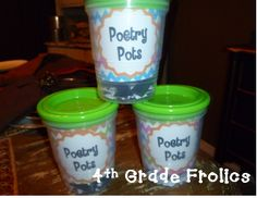 Poetry Pots- Grade Frolics- magnetic words inside- use with a cookie sheet- :) 4th Grade Writing, Work On Writing, 4th Grade Reading, Writing Workshop, Teaching Writing, Fourth Grade, Guided Reading, Teaching Resources, Teaching Ideas