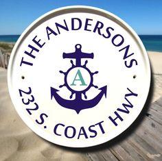 Beach House Sign Nautical Anchor Gift Monogram Plaque Family Name Ceramic Address Plaques Coastal Wall Decor