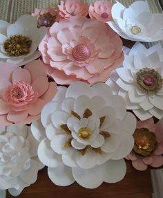 Set of 15 Large Paper Flowers - Pink, White, and Gold $250.00
