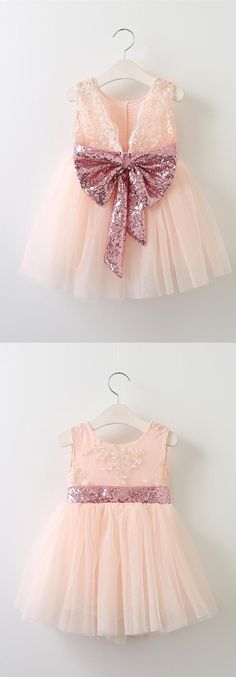 flower girl dress, pink flower girl dress, flower girl dress with pink bows