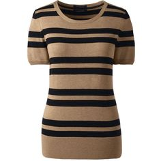 Lands' End Women's Petite Short Sleeve Supima Stripe Sweater ($59) ❤ liked on Polyvore featuring tops, sweaters, dresses, neutral, layered tops, short sleeve tops, striped crop top, brown striped sweater and stripe sweater
