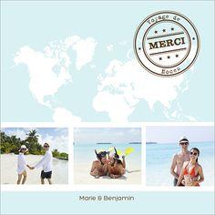 Carte de remerciements de mariage : #Voyage à personnaliser sur http://www.popcarte.com/cartes-flash/carte-remerciements/carte-remerciement-mariage-theme-voyage.html