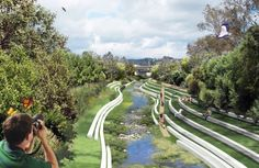 Los Angeles River Revitalization: A City Rediscovers its Flow --- A return to a multi-functional greenified Los Angeles River at the confluence with Arroyo Seco near Elysian Park. Rendering By Yingjun Hu.