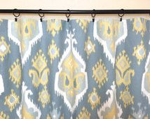 Pale Yellow and Saffron Gray Ikat Curtain Panels. 25 or 50 Inch Widths. 63, 84, 96, 108, 120 Lengths. Drapery Window Treatments. Curtains.