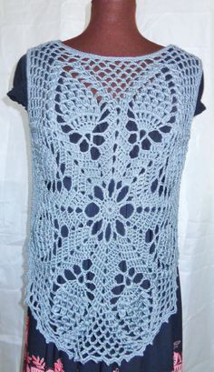 Crochet  top . Silver gray . Size S to M by FAYSFABULOUSCROCHET, $40.00