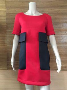 """Купить Платье из неопрена """"Контраст"""" - платье из неопрена, красное платье, красно-черный"""