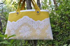 Awesome granny chic tote in the perfect mustard yellow and beautiful lace.