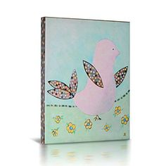 [Framed] Pink Bird Pokka dots Picture Wall Art Canvas Prints Home Nursery Decor #GreenFrog