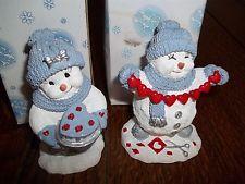 Lot 2 Encore Valentine Snow Buddies Snowmen Figurines Chain Hearts Heart Cake