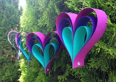 Peacock / Frozen Ombre Paper Heart Garland ~Perfect for Weddings Birthdays~ Custom Orders Welcome! Hanging Paper Hearts, Purple Turquoise on Etsy, £7.06