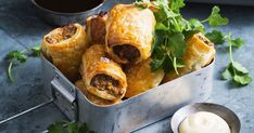 Jazz up these Aussie sausage rolls with creamy mayo and barbecue dipping sauce.