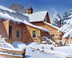 """John Sloane -- """"Cold Spell"""". Tthe day after the big snow. The kind farmer has sprinkled some birdseed on the path to the barn. Some corn perhaps, or oats, or sunflower seeds? All are welcome by the hungry birds because every little bit helps!"""