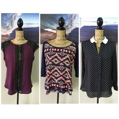 (3pc) SUMMER Blouse Pre-Made Bundle Just an easy way for you to get more bang for your buck. ask all your questions and then let's get these perfect cardigans home to you. bundle includes: LAUREN CONRAD Black & White Stars (M), RUE 21 Aztec Print (M), BOUTIQUE BRAND Purple & Black (M) Tops