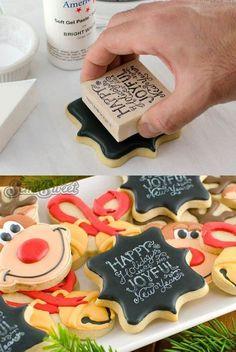 Stamped Chalkboard Art Cookies by Semi Sweet Designs Fancy Cookies, Iced Cookies, Royal Icing Cookies, Cookies Et Biscuits, Cupcake Cookies, Sugar Cookie Icing, Baking Cookies, Sugar Cookies Recipe, Custom Cookies