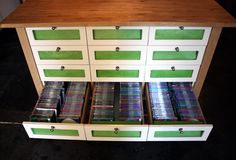 DVD storage old dresser. Im doing this. Just need to keep my eye out for a good dresser.
