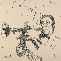 aerial portrait of Louis Armstrong by craig alan