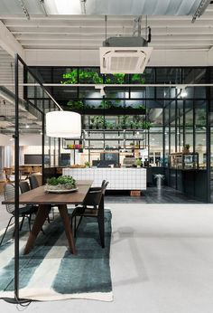 at the end of last year, knoblauch conceived its new 'café-office-shop' set in the rural region of lake constance, germany. White Office Furniture, Loft Furniture, Office Furniture Design, Modern Furniture, Industrial Office Design, Industrial Cafe, Modern Industrial, Showroom Design, Cafe Design