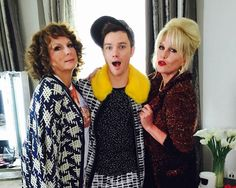 Filming AbFab-movie with Chris Colfer.