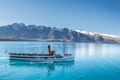 Real Journeys TSS Earnslaw Steamship cruise on Lake Wakatipu to visit Walter Peak Farm. for a guided farm tour, horse trek, cycle ride, barbecue lunch or evening dining. Lake Wakatipu, Cycle Ride, New Zealand, Trek, Te Anau, Tourism, Island Cruises, Journey, Horses