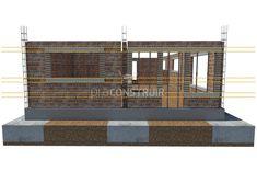 Paredes: você sabe o que é alvenaria de vedação? Concrete Building Blocks, House Roof, Home Decor, Glass Walls, Civil Engineering, Modern Architecture, Windows, Snood, Houses