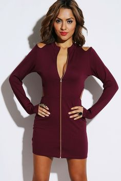 #1015store.com #fashion #style maroon red zip front high neck cut out cold shoulder fitted clubbing mini dress-$30.00