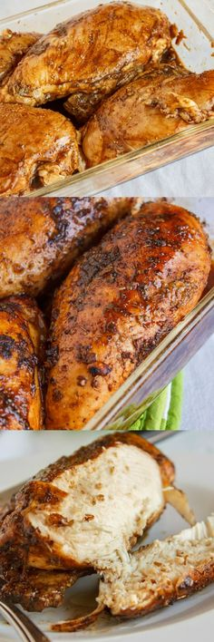 Baked Balsamic Chicken 4 bone-in, skinless chicken breasts ¼ cup balsamic vinegar 1 tbsp. olive oil 4 garlic cloves, minced 2 tsp. dried oregano ¼ tsp. dried rosemary Salt and pepper