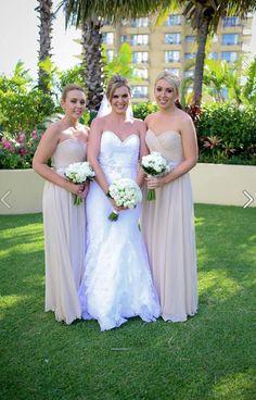 Natasha Millani real bridesmaids in the Chloe bridesmaid dresses (beige colour). visit www.natashamillani.com.au