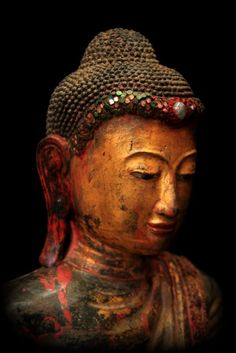 """""""Do not look for a sanctuary in anyone except yourself."""" —Buddha (Sculpture: Extremely Rare 19C Standing Mandalay Burma Buddha)."""