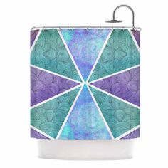 Kess InHouse Pom Graphic Design Reflective Pyramids Teal Purple Shower Curtain